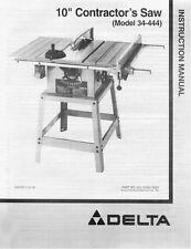 """Delta 34-444 10"""" Contractors Saw Instruction Manual"""