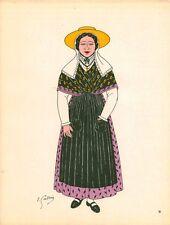 Gravure d'Emile Gallois costume des provinces françaises 1950  Dauphiné