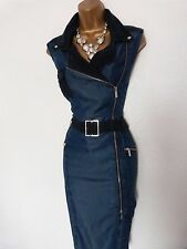 Karen Millen Stunning Chambray Biker Belted Denim Dress Size 10