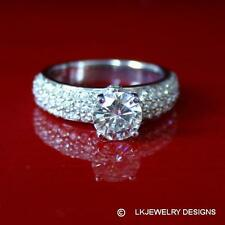 1.90 CT MOISSANITE ROUND FOREVER BRILLIANT SOLITAIRE ENGAGEMENT PAVE RING