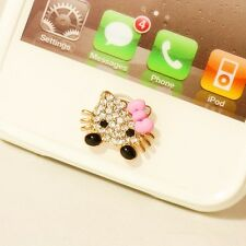 3D Bling Cute Kitty Home Button Sticker For iPhone 4 4s,5,5c,5s,6,6 Plus 6s