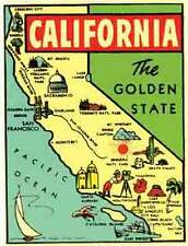 California  Map   Vintage-1950's Style   Travel Sticker/Decal