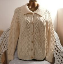 Vintage hand knitted Aran wool cardigan buttons collar size 10 small