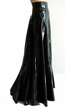 Victorian PVC faux leather wide long steampunk godet-skirt, S – 3XL selectable