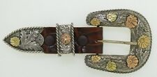 "Sterling Silver 14K Gold Engraved 3 pc. Buckle Sunset Trails Fits 1"" Belt"