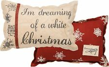 """DREAMING OF A WHITE CHRISTMAS Throw Pillow, 15"""" x 10"""", Primitives by Kathy"""