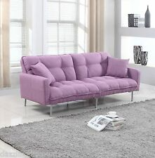 Modern Plush Tufted Linen Fabric Splitback Living Room Sleeper Futon Purple