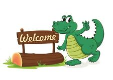 Asmi Collections PVC Wall Stickers Beautiful Crocodile Welcomes-AO001