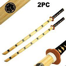 """2pc Set 40"""" Samurai Katana Bokken Kendo Wooden Practice Swords for Students"""