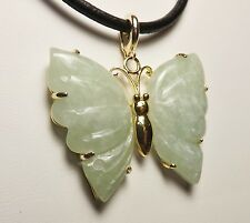 GSJ Green Chinese Jade Gemstones Butterfly Sterling Silver Pendant & Necklace