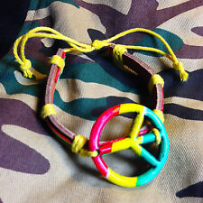 Rasta Leather Peace Sign Bracelet Friendship Bracelet Hippie Hobo Reggae PEACE
