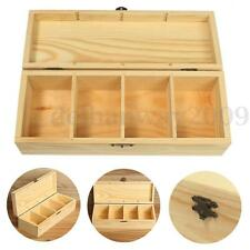 4 Compartment Wooden Tea Box Bag Jewelry Storage Chest Container w/ Vintage Lock