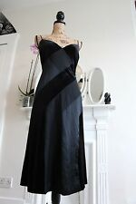 Elegant Betsey Johnson Black Silk Velvet Cocktail Dress 10 12 Small Spaghetti