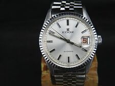 VINTAGE EDOX 2783 25 JEWELS STAINLESS STEEL SWISS ETA DATE AUTOMATIC MENS WATCH