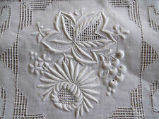 ANTIQUE WHITE LACE TABLECLOTH HAND MADE BOBBIN NEEDLE DRAWN EMBROIDERED