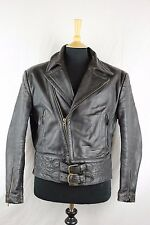 Vintage 50s German Leather Motorcycle Biker Flight Pilot Half Belted Jacket M