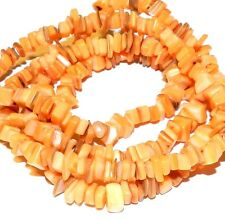 MP582f Orange Mother of Pearl Shell Gemstone Small 8x3-4mm Nugget Chip Bead 35""