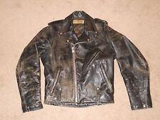 VTG 50s 60s DISTRESSED Harley Davidson Black Leather Motorcycle Jacket Patina 36