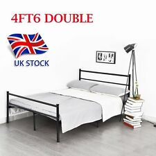 NEW PRIMO 4FT6 DOUBLE METAL BED FRAME IN BLACK ADDITIONAL SUPPORT BEDSTEAD UK