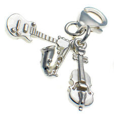 Sterling 925 Solid Silver British Charm Clip On, 3 pt. Guitar, Saxaphone, Violin