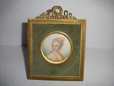 Antique 19th beautiful woman miniature portrait painting dore frame signed