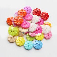 100stk/Paket Bunt Farbe Knöpfe Knopf Blumen Förmig Plastik 13mm Button