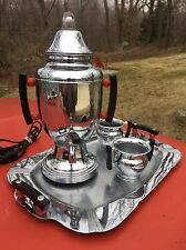 Art Deco 30's FARBEWARE Chrome Bubble Coffee Set PERCOLATOR Tray RARE deskey ERA
