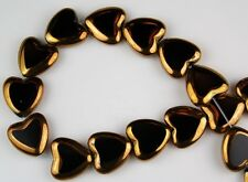 24 PCS Heart Black Gold Faceted Loose Glass Beads Jewelry Craft Spacer 14mm