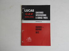 LUCAS Parts List 1972 VAUXHALL BEDFORD cars and commercials