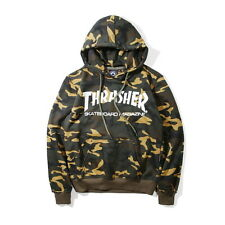 Men's Hoodie Sweater Hip-hop Skateboard Thrasher Camouflage Fleece Sweatshirts L