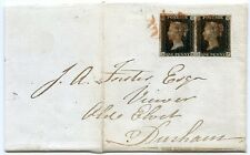 RARE 1841 cover pair 1d black pl 10 late use RED Newcastle Maltese Cross