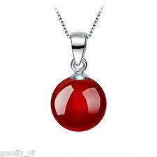 Round Red Moonstone Cat Eye Pendant 925 Sterling Silver Filled Women Necklace