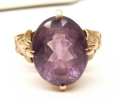 Antique 14K Rose Gold Amethyst Ring Sz 6 Estate Ornate Cocktail 3.63 Carat Vtg