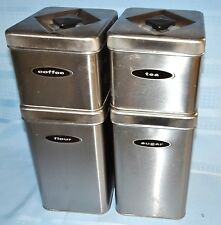 Vtg Brushed Stainless Steel 4Pc Masterware Metal Canister Set w Lids Stackable
