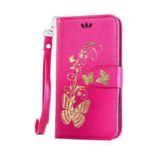 Luxury Bronze Floral Leather Flip Wallet Case Cover For iPhone 6 6S Plus Touch 5