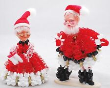 VINTAGE Mr & Mrs Santa Claus - Beads & Red Ribbon - Plastic Faces & Felt Hats