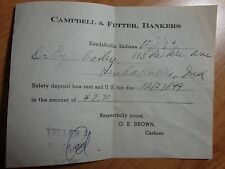 1949 CAMPBELL & FETTER BANKERS KENDALLVILLE INDIANA SAFETY DEPOSIT BOX RECEIPT