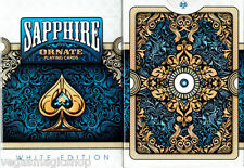 Ornate White Sapphire Deck Playing Cards Poker Size USPCC Custom Limited Sealed