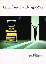 PUBLICITE ADVERTISING 045  1982  YVES SAINT LAURENT parfum haute couture femme Y