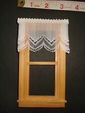 """Sheer Pleated White Lace Dollhouse Curtains - 3 """" W x 2"""" L"""