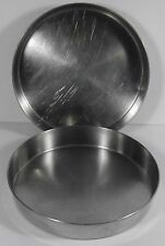 "VTG LOT OF 2 WEST BEND HEAVY DUTY STAINLESS STEEL 9"" X 1.5"" ROUND CAKE PANS USA"