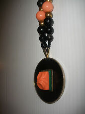 Beautiful vintage Kenneth Lane faux coral  beads necklace