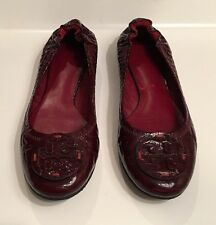Tory Burch Reva Oxblood Maroon Red Snakeskin Patent Leather Ballet Flats 8.5