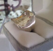 Amazing Vintage Mexico Hammered Sterling Silver 925 Concave Square Ring ~ Sz. 8