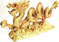 NEW LARGE GOLD Chinese Feng Shui Dragon Figurine Statue for Luck & Success
