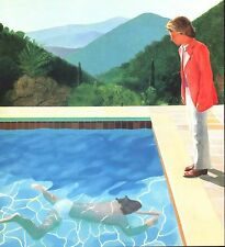 DAVID HOCKNEY BOOK PRINT ARTIST BESIDE POOL WITH SWIMMER CALIFORNIA LANDSCAPE