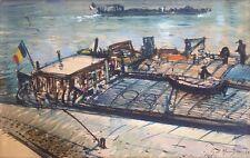 Garabed A. MOMDJIAN 1922-2006.Les Péniches sur la Seine.Acrylique.SBD.1959.Cadre