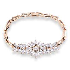 """Appealing 18k gold filled white Swarovski Crystal vintage bracelet 7""""13.5g"""
