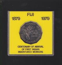 1879-1979 Fiji 50 Cent Coin Sugar Cane Centenary First Indian Indentured Workers