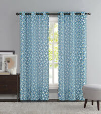 Blue and Ivory Two Piece Window Curtain Panels: Grommets, iKat Geometric Design